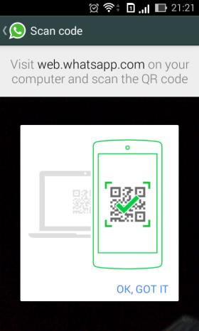 Scan barcode Whatsapp