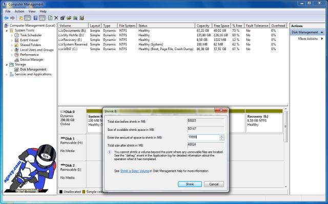 shrink disk options copy