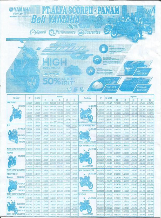Brosur Harga Pricelist Yamaha